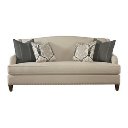 """Biltmore Sofa - Tall shaped back with curved, sloped arms and extra deep seat cushion gives this graceful style comfort and a sophisticated look. It features a single bench seat cushion with tie-downs and medium sized nail head trim along the base. Comes standard with two 20"""" accent pillows and two 22"""" accent pillows. The wood legs are available in multiple finishes"""