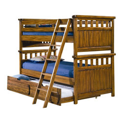 American Woodcrafters - Timberline Twin Over Twin Bunk Bed Set - With multiple sleeping spaces including an optional underbed trundle, this twin over twin bunk bed set will be perfect for providing space for your kids and their overnight guests. Finished in a rich saddle brown and enhanced by rustic slat accents, the set is bound to be a big hit with any recipient. Timberline Collection. Includes lower bed ends, upper bed ends, ladder and rails/guardrail pack. Free slat pack included. Mattress not included. Trundle unit in picture not included. Bed slats are shipped with product. Ladder attached. Selected solids and veneers. 1-Year manufacturer's warranty. Total: 45.75 in. W x 83 in. D x 65 in. H (145.2 lbs.). Lower bed ends: 45.75 in. W x 3 in. D x 35 in. H (55 lbs.). Upper bed ends: 45.75 in. W x 3 in. D x 30 in. H (48.4 lbs.). Bunk Bed Cautions Please read before purchase.. NOTE: ivgStores DOES NOT offer assembly on loft beds or bunk beds.