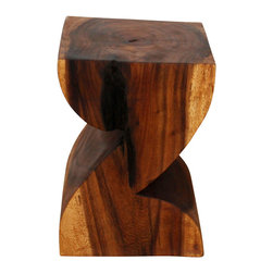 Kammika - ZAT End Table Sust Wood 12x14x20 inch H w Eco Friendly Livos Chestnut Oil Finish - Our Sustainable Monkey Pod Wood ZAT 12 inch x 14 inch x 20 inch height End Table with Eco Friendly Livos Chestnut Oil Finish is shaped as the letter Z in a fun font. Livos Chestnut Oil is hand rubbed to a matte finish creating rich dark brown tones with medium reddish (chestnut) highlights; the more it is buffed the more lustrous the surface will become. These natural oils are translucent, so the wood grain detail is highlighted. This sturdy piece serves wonderfully as an end table or stool. Made from the thick branches of the quick-growing Acacia tree in Thailand - where each branch is cut and carved to order (allowing the tree to continue growing), the wood is dried, carved and sanded by skilled artisans. Each piece is a Work of Art, Functional Sustainable Wood Eco Friendly Art! Craftspeople from the Chiang Mai area in Northern Thailand create these unique pieces with the simplest of tools. After each Monkey Pod wood (Acacia, Koa, Rain Tree grown for wood carving) piece is kiln dried, carved and sanded, it is rubbed in Livos Chestnut oil creating a water resistant and food safe finish. There is no oily feel and cannot bleed into carpets, as it contains natural lacs. We make minimal use of electric hand sanders in the finishing process. All products are dried in solar or propane kilns. No chemicals are used in the process, ever. After each eco friendly piece is carved, kiln dried, sanded, and rubbed with Livos all natural oil, they are packaged with cartons from recycled cardboard with no plastic or other fillers. As this is a natural product, the color and grain of your piece of Nature will be unique, and may include small checks or cracks that occur when the wood is dried. Sizes are approximate. Products could have visible marks from tools used, patches from small repairs, knot holes, natural inclusions or holes. There may be various separations or cracks on your piece wh