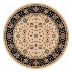 "Dynamic - Radiance Traditional, Ivory / Border Color Black, 7'10"" X 7'10"" Round - Radiance 43002-6232 7.10"