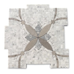 "GlassTileStore - Botanical Sparrow Marble Tile - Botanical Sparrow Marble Tile             This marble mosaic will provide endless design possibilities from contemporary to classic. It creates a great focal point to suit a variety of settings.         Color: Gray and Green   Material: White Carrera, Lady Gray + Mugwort Green   Finish: Polished   Sold by the Sheet- each sheet measures 12""x12"" (1 sq.ft.)   Thickness: 10mm   Please note each lot will vary from the next.               - Glass Tile -"
