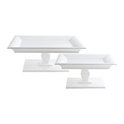 Square Pedestal Trays, White