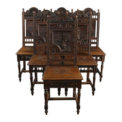 EuroLux Home - Set 6 Consigned Antique Dining Chairs 1890 French - Product Details