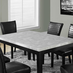 Monarch Specialties - Monarch Specialties Grey Laquered Marble-Look 64x38 Dining Table - Rejuvenate your in-home dining experience with this stunning and refreshing two tone marble look dining table. The grey laquered, marble-look tabletop offset by an elegant black base brings harmonious glamour to your dining area. Perfect for the kitchen or dining room, this table will provide years of lasting enjoyment.