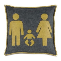 "Man, Woman and Baby Pillow - The perfect size (18"" x 18"") to fit on a glider or couch in a playroom. It's a modern take on a family pillow and comes in great neutral colors of yellow and gray."