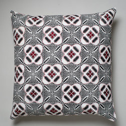 Indonesia Cushion - Suki Cheema - Evoking traditional Indonesian batik, Suki Cheema's Indonesia cushion features an intricate repeat pattern that blends well with bold prints. The fabric is printed by hand on cotton canvas with scarlet thread embroidery for added texture.