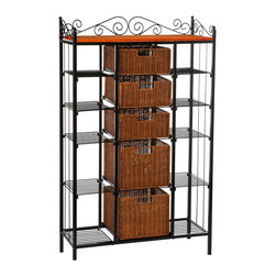 Holly & Martin - Rancho 5-Drawer Baker's Rack - Elegant and beautiful, this five-drawer kitchen rack will help with storage, display and organization all in one. Two large lower brown stained rattan baskets and three smaller upper baskets function as removable drawers while ten open wire shelves on the sides provide versatility. Decorative scrollwork laces the top for a classic touch.