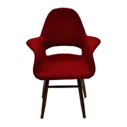 Fine Mod Imports - Eero Dining Chair in Red - Contemporary style. Fabric upholstery. Plywood legs in walnut finish. Warranty: One year. Assembly required. Seat height: 16.5 in.. Overall: 28 in. W x 24 in. D x 36 in. H (20 lbs.)