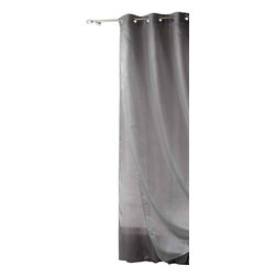 Evideco - Double Layered Sheer Grommet Curtain Panels Odeon Gray - This decorative double layered sheer window curtains panel ODEON with grommets is made of one Jacquard sheer panel and one satin sheer panel, it brings style and provides privacy to any room. This gray and silver double-layer voile window curtain panel, m