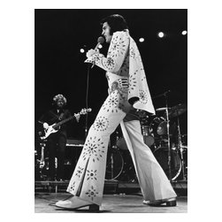 Oriental Furniture - Elvis Presley Las Vegas Jumpsuit Wall Art - Elvis takes to the Vegas stage in his signature studded jump suit and cape in this classic black and white photograph. The authentic, authorized limited edition giclee style canvas art print of the King of Rock & Roll is great for devoted fans and music lovers.