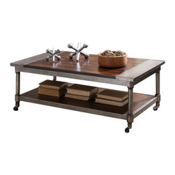 Standard Furniture - Standard Furniture Hudson 3-Piece Rectangular Coffee Table Set in Warm Cherry - Hudson tables offer mainstream industrial styling that blends perfectly with casual contemporary life.