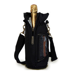 "Picnic Plus - Wine Pouch, Black - Picnic Plus Wine Bottle Insulated Pouch With Opener, Black. Color/Design: Black; Classic carrier for your Chablis or chardonnay; Fully insulated tote holds 1 bottle; Includes a wooden handle corkscrew opener. Dimensions: 12""H x 4""D"
