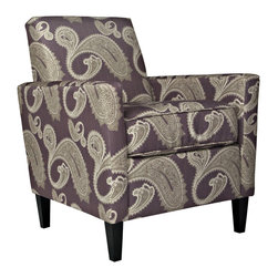 ANGELOHOME - angelo:HOME Sutton Feathered Paisley Amethyst Purple Arm Chair - Enhance your homes d�cor with this purple paisley arm chair. With its solid wood frame,plush upholstery fill and durable fabric,this chair will give your home a comfortable and stylish look. The set is complemented with a dark walnut finish.