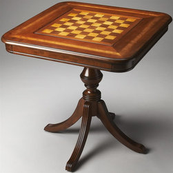 Butler - Wood Game Table - Game pieces are not included. Four delicately carved legs and urn pedestal. Reversible game board plays chess and checkers on one side and backgammon on the other. Both sides have inlays of maple. Hand crafted. Made from walnut and select cherry veneers. Light cherry finish. 30 in. W x 30 in. D x 30 in. H (55 lbs.)
