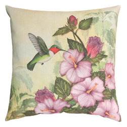 """Manual - Pair of """"Happy Hummingbird"""" 18 Inch Indoor / Outdoor Throw Pillows - This pair of 18 inch by 18 inch woven throw pillows adds a wonderful accent to your home or patio. The pillows have (No Suggestions) weatherproof exteriors, that resist both moisture and fading. They have the same print on both front and back, featuring a hummingbird feeding from a hibiscus plant. They have 100% polyester stuffing. These pillows are crafted with pride in the Blue Ridge Mountains of North Carolina, and add a quality accent to your home. They make great gifts for flower lovers."""