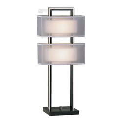 """Nova Lighting - Nova Lighting Amarillo Contemporary Silver Accent Table Lamp X-9433 - With in-line dimmer switch. Shade dimension: 7"""" x 12"""" - 7"""" x 12"""" x 6"""" V. Base is 8"""" X 6.5"""" X 1"""""""