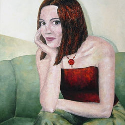 Figure Painting, Lady on Olive Green Sofa by Belanszky Painting - Oil paintings add such interest to a room. I like the deep red of her shirt and necklace.
