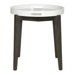 Safavieh - Ben Lacquer Side Table - A silent butler for your home, the Ben tray table is as good looking as it is hard-working. A removable white lacquer wood tray sits atop a dark brown base ready to be of service. This clean-lined table is ideal for transitional and contemporary rooms.