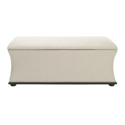 Safavieh - Safavieh Aroura Beige Storage Bench X-A1704DUH - With its seductive silhouette, the Aroura Storage Bench is enveloped in chic, feminine style.  Covered in sophisticated beige linen-weave fabric, Auroua sits graciously atop ample black legs sturdy enough to hold everything you stow inside.