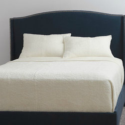 Wingback Upholstered Bed - The color here is divine. And with the nailheads? Another hit.