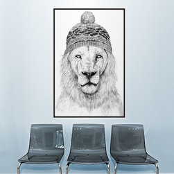 My Wonderful Walls - Lion Wall Sticker - Winter is Coming by Balázs Solti, Small - - Product:  lion in ski cap decal