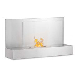 "Ignis Products - Ater SS Stainless Steel Wall Mounted Ventless Bio Ethanol Fireplace - Go for an inviting look in any room by hanging this Ater SS Wall Mounted Vent less Ethanol Fireplace on your wall. This beautiful wall mount fireplace is easy to hang and features a sleek modern design with a glass safety shield that is held up by a stainless steel shelf for a look that is chic and up-to-the-minute. The unobtrusive design of this fireplace makes it ideal for your contemporary decor, and it throws out enough heat to keep an average-sized room toasty warm and comfortable. This 6,000-BTU fireplace comes with an ethanol burner insert, a damper tool, and mounting hardware. Dimensions: 35.4"" x 19.75"" x 11"". Features: Ventless - no chimney, no gas or electric lines required. Easy or no maintenance required. Easy Installation - Mounts directly on the wall (mounting brackets included). Capacity: 1.5 Liters. Approximate burn time - 5 hours per refill. Approximate BTU output - 6000."