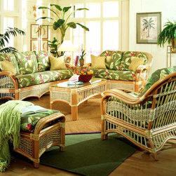 Spice Island Wicker - 6 Pc Indoor Rattan Living Room Set (Callie Coffee - All Weather) - Fabric: Callie Coffee (All Weather)A perfect ensemble ��� this six piece living room set features the finest in wicker detailing and will bring a wonderfully tropical feel to any setting.  It will complement traditional or contemporary decor with a unique blend of canes and weaves.  Create your private retreat with the stylish good looks of wicker.  The Seascape Collection 6-piece set offers an entire entertainment grouping for an instantly updated space.  This beautiful, matched Rattan Indoor Seating/Tables Set comprises an Armchair, LoveSeat, Sofa, Ottoman, End Table and Coffee Table. * Includes Sofa, Loveseat, Armchair, Ottoman, Coffee Table & End Table. Solid Wicker Construction. Natural Finish. For indoor, or covered patio use only. Includes all cushions and glass. Sofa: 77 in. W x 36 in. D x 36.5 in. H. LoveSeat: 57 in. W x 36 in. D x 36.5 in. H. Armchair: 34.5 in. W x 36 in. D x 36.5 in. H. Ottoman: 32 in. W x 19 in. D x 18 in. H. Coffee Table: 26.5 in. W x 20 in. D x 19.5 in. H. End Table: 45 in. W x 20.5 in. D x 19.5 in. H