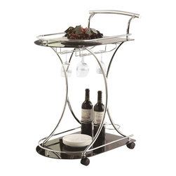 Coaster - Coaster Serving Cart with 2 Black Glass Shelves - Coaster - Bar Carts - 910001 - Bring convenient serving mobility to your home with this casual serving cart. Featuring a light chrome finish its design is simple with gentle curves to add a sense of shape and movement to the piece. Two black glass shelves provide space for placing dishes and dining accessories and a wine bottle and stemware rack enable you to serve your spirits with ease. Four casters allow you to move this cart easily from one room to the next. Whether it is a grand entertaining occasion or simply a casual social gathering this serving cart has all your serving needs covered.