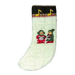 Patch Magic - Carolers Stocking - 8 in. W x 21 in. L. 100% Cotton. Machine washable.. Line or flat dry onlyGorgeous and unique hand quilted Christmas stocking.