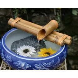BambooAccents - 12in. Three-Arm Spout and Pump Kit - The three arm horizontal spout provides a surface to rest objects such as a water ladle or plant. It sits low, close to the water and can be used on bowls of any depth. The spout's large diameter creates a wide water flow that sounds rich and full.