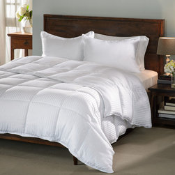 None - All-season Luxurious Down Alternative Hypoallergenic Striped Comforter - Enjoy a perfect night's sleep under this fluffy,breathable down alternative striped comforter. The tight baffle box construction is specifically designed to prevent the soft hypoallergenic fill from shifting.