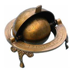 Brass Celestial Armillary Globe - This is a beautiful solid brass decorative antique reproduction of a Celestial Armillary Globe.  This decorative reproduction of a celestial globe includes the names of the 12 astrological signs engraved into the globe in Arabic letters.  The outside lid, which opens up half-way, is intricately engraved with the signs of the Zodiac and is printed with Arabic letters on the outer rim.  The globe is made from solid brass, not brass-plated steel, and sits on three elegant legs.  It has a rich antique patina which will not tarnish nor show fingerprints.  The Celestial Armillary Globe measures 5 inches (12.7 cm) in diameter, 3 5/8 inches (9.2 cm) tall, and the center hollow globe sphere is 2 1/2 inches in diameter (6.35 cm).  The Celestial Globe weighs 1 pound, 6 ounces (0.63 kg).