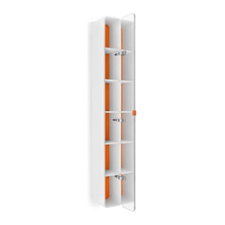 WS Bath Collections - Bathroom Cabinet in White and Orange - Contemporary design. Five shelves. Mirrored door. Designer high end quality. Warranty: One year. Made from plywood and stainless steel. Made in Italy. 7.5 in. W x 8.1 in. D x 63.4 in. H (40 lbs.). Spec Sheet