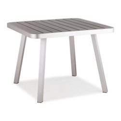 Zuo Modern - Zuo Modern Township Square Dining Table in Brushed Aluminum - Square Dining Table in Brushed Aluminum belongs to Township Collection by Zuo Modern The Township Long Table has a sturdy brushed aluminum frame and a slatted faux wood top. Dining Table (1)