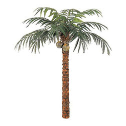 Oriental-Decor - Foot Coconut Palm Tree, Green, 10 Feet - Coconut trees are reminiscent of beach vacations and the tropical lifestyle. Now you can effortlessly transform any indoor setting into a tropical paradise with this towering 10 foot Coconut Palm Tree. Designed to feel and look natural, this synthetic coconut palm tree is made from silk and polyester and comes with a natural-looking wood fiber trunk. 12 palm fronds and 2 hanging coconuts serve to complete the natural appearance of this artificial tree. Made from durable materials and finished perfectly for that real-life, glossy look, this synthetic tree can last for a very long time. Proper storage and regular maintenance will keep this synthetic coconut palm tree looking brand new no matter what season. Bring the beach lifestyle to any interior setting, wherever in the world you are. Perfect for summer-themed parties, beach-inspired affairs or simply for recreating any indoor setting, this 10 foot Coconut Palm Tree is sure to make a lasting impression.