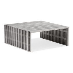 Zuo - Slatted Steel Square Coffee Table - The Slatted Steel Square Coffee Table combines strength and beauty in a stunning modern piece for your living room or home office.  It's open slatted design is crafted entirely of 100% stainless steel, while it's strong frame can withstand heavy use.  The substantial scale of the Slatted Steel Square Coffee Table is perfect for anchoring a large seating arrangement.  The Slatted Steel collection also features a console table, long coffee table, dining table, double bench, and single bench.