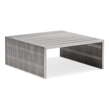 Zuo - Slatted Steel Square Coffee Table - The Slatted Steel Square Coffee Table combines strength and beauty in a stunning modern piece for your living room or home office.  It��s open slatted design is crafted entirely of 100% stainless steel, while it��s strong frame can withstand heavy use.  The substantial scale of the Slatted Steel Square Coffee Table is perfect for anchoring a large seating arrangement.  The Slatted Steel collection also features a console table, long coffee table, dining table, double bench, and single bench.