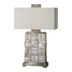 Uttermost - Uttermost Calaveras Mother Of Pearl Lamp - Calaveras Mother Of Pearl Lamp by Uttermost Pieced Mother Of Pearl Tiles Accented With Brushed Aluminum Details. The Rectangle Hardback Shade Is An Off-white Linen Fabric.