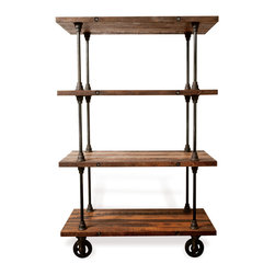 Kathy Kuo Home - Allenby Industrial Reclaimed Wood 4 Shelf Rolling Bookcase - S - Weathered and worn and crafted by the best, this reclaimed wood industrial bookshelf is set to steal the show in your living room. Picture perfect from every angle, whether you're capturing the saturated stained wood shelves or the crisp cast iron rods that hold them together, this piece is about as stunning as it gets. Statuesque and commanding, this a piece that deserves to shine with carefully styled vignettes, whether they be vintage decanters or family photos. Enjoy a one year warranty on this piece.