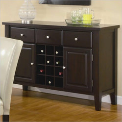Coaster Carter Buffet Style Server in Dark Brown Wood Finish