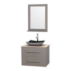 """Wyndham Collection - Centra 30"""" Grey Oak Single Vanity, Ivory Marble Top, Altair Black Granite Sink - Simplicity and elegance combine in the perfect lines of the Centra vanity by the Wyndham Collection. If cutting-edge contemporary design is your style then the Centra vanity is for you - modern, chic and built to last a lifetime. Available with green glass, pure white man-made stone, ivory marble or white carrera marble counters, with stunning vessel or undermount sink(s) and matching mirror(s). Featuring soft close door hinges, drawer glides, and meticulously finished with brushed chrome hardware. The attention to detail on this beautiful vanity is second to none."""