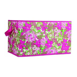 Lilly Pulitzer - Lilly Pulitzer Organizational Bin - Large, Beach Rose - Our large-sized Lilly Pulitzer storage bin is a colorful way to store what should not end up on the floor. Organize your vacation home, closet, kitchen or even your laundry room using one or more of these decorative storage boxes. Large enough to store several rolled towels, these decorative containers are big enough to also store clothing, shoes, toys, magazines, sewing supplies, craft supplies and more. These bins are sturdy, so feel free to load them up.
