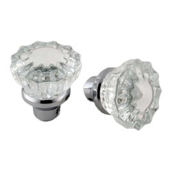 """Renovators Supply - Door Knobs Clear Glass Door Knob Pair - Door Knobs: This exquisite pair of glass door knobs comes complete with a precision machined 1/4"""" square spindle.  The knob is 2"""" diameter."""