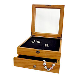 Proman Products - Bari Ring Box - 77 rings slots and black flocked pad. Glass lid top for visibility. Lock with key for jewelry security. Felt lined bottom drawer. Medium Oak finish. 9 in. W x 9 in. D x 4 in. H