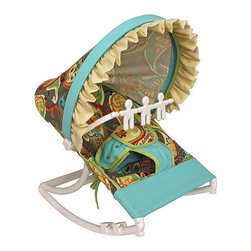 Hoohobbers - Hoohobbers Captiva Rocking Infant Rocker Seat - 271-39 - Shop for Rocking Toys from Hayneedle.com! The bright pattern and brilliant colors of the Hoohobbers Captiva Rocking Infant Rocker Seat help to create a fun place for your baby to play. Designed to cradle your baby like a mother's arms this rocker has a deep soft sling which surrounds and fully cradles your baby. Your baby will be able to create a smooth gentle and calming rocking motion while moving helping her to calm herself. A removable toy bar with spinning characters will help to keep her entertained as she sits in the rocker. Its smooth solid frame locks to help keep your baby safe while the stabilizing feet prevents tipping. Its protective hood helps to block light and drafts to keep your baby comfortable. Its water safe machine washable fabric is easy to clean so you don't have to worry about accidents and spills. Simply fold this rocker up when you're on the go and bring it with you wherever you're traveling. Additional Features Baby calms self with gentle rocking motion 4 lbs rocker folds for easy transportation Removable toy bar with spinning toys Solid smooth frame which locks Stabilizing feet helps keep baby safe Protective hood helps block light and drafts About HoohobbersBased in Chicago Hoohobbers has designed and manufactured its own line of products since 1981 beginning with the now-classic junior director's chair. Hoohobbers makes both hard goods (furniture) and soft goods. Hoohobbers' hard goods are not your typical furniture products; they fold are lightweight and portable and are made to be carried by children all around the house. Even outdoors Hoohobbers' hard goods are 100 percent water-safe. At the same time they are plenty durable and can take the abuse children often give. Hoohobbers' soft goods are fabric items ranging from bibs to bedding from art smocks to Moses baskets. Hoohobbers' products are recognized by independent third parties for their quality and performance. Hoohobbers has received Best Design Awards from America's Juvenile Products Association each time selected from more than 20 000 products. Hoohobbers has also received the Parents' Choice Award and no Hoohobbers product has ever been subject to consumer recall. Furthermore the company's products are often featured in leading women's and children's publications.