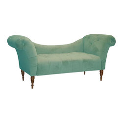 Skyline Furniture - Eaton Blue Chaise - Cotton and rayon upholstery. Made from solid wood. Made in USA. 74 in. L x 27 in. W x 33 in. H (87 lbs.)Great for additional seating