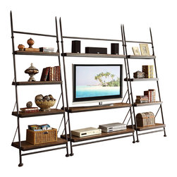 Riverside Furniture - Riverside Furniture Camden Town 3 Piece Leaning TV Stand Set in Hampton Road Ash - Riverside Furniture - Entertainment Centers - 2374023748x2Set - Riverside Furniture Camden Town Leaning TV Stand in Hampton Road Ash