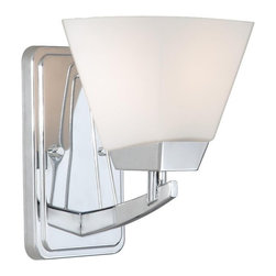 Vaxcel Lighting - Vaxcel Lighting Kendall Transitional Wall Sconce X-HC100ULV-DK - A tapered shape and clean, architectural-inspired lines are complimented by eye-catching, modern finishes on this Vaxcel Lighting wall sconce. From the Kendall Collection, the bold tones of the Chrome finish are complimented by the contrasting satin tones of the beautiful frosted opal glass shade.