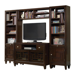 "Hooker Furniture - Opus Designs Ludlow Media Chest Entertainment Center in Walnut - Hooker Furniture - Entertainment Centers - 103046211EntCtr4PCKIT - With a metropolitan and modern attitude Ludlow is distinguished by an intriquing walnut veneer story and hip fretwork detail. The architectural style of Ludlow is equaled only by its flexibility and function. Left &Right Piers: Five storage compartments in the top portion; one adjustable wood shelf in middle section; one pullout tray with black laminate; one door in bottom section with an adjustable wood shelf behind; receptacle; wire management. Media Chest: Two drawers; one open component compartment; two sliding fretwork and glass doors with one adjustable wood shelf behind each; wire management. Small Bridge: One removable wood shelf which helps to create five storage compartments; Wire managementFinish: WalnutMaterial: Constructed of hardwood solids and walnut veneersIncludes: Media chest small bridge two piersSpecifications:Overall product dimensions: 66"" H x 82.75"" W x 18"" D"
