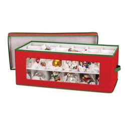 Household Essentials - Holiday Ornament Storage Chest - Holds 36 Pieces - Our Ornament Storage Box is made of canvas and stores up to 36 holiday ornaments. The clear Window Vision makes each chest easy to identify contents. Includes dividers for small ornaments to large finials and lift-out tray.